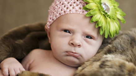 Baby-Upset-Newborn-Mad-Flower-Unhappy-Girl