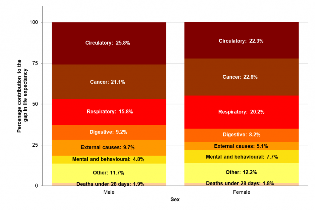 This is a stacked bar chart showing the breakdown of the life expectancy gap in England in 2015-17 for males and females by broad causes of death. It shows circulatory disease and cancer are the biggest contributors for both sexes.