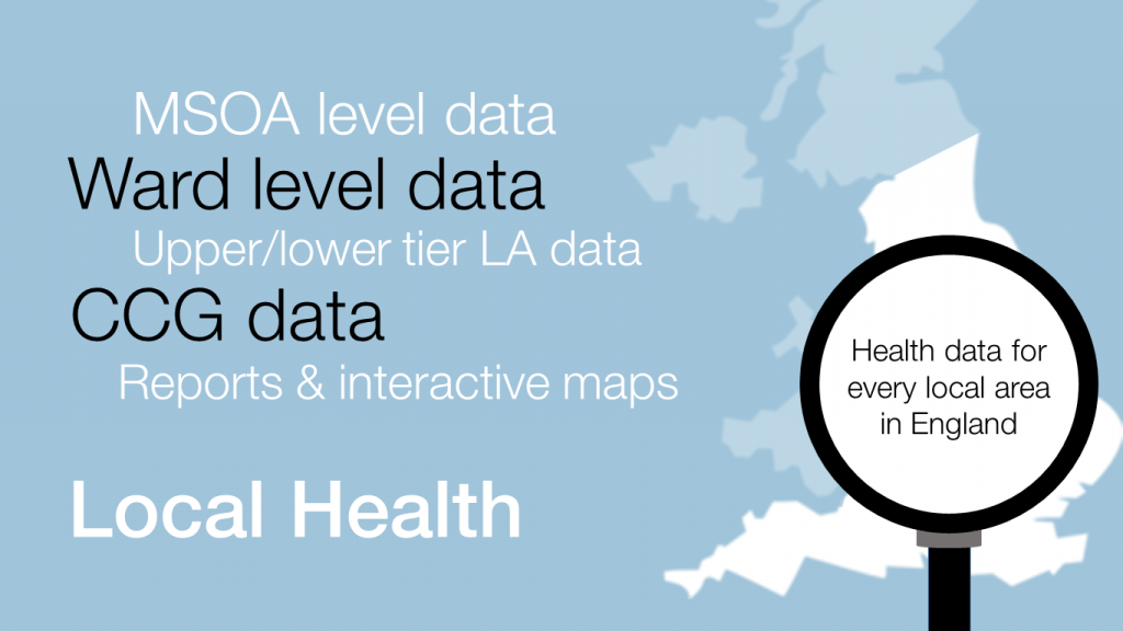 Graphic showing a map of England with the words 'Health data for every local areas in England' on it. The graphic lists the terminology associated with the local health platform: 'MSOA level data, ward level data, upper/lower tier LA data, CCG data, reports and interactive maps'