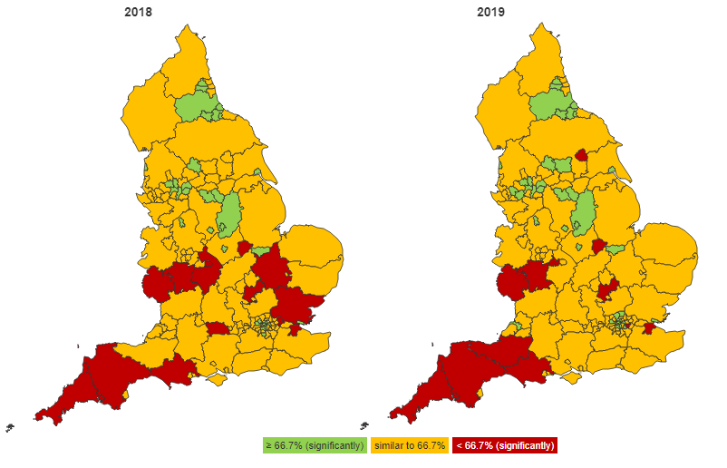 Maps to show estimated dementia diagnosis rate (aged 65+) for county and unitary authorities in England, 2018 and 2019