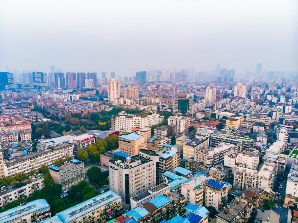 Skyline of Wuhan city in China.